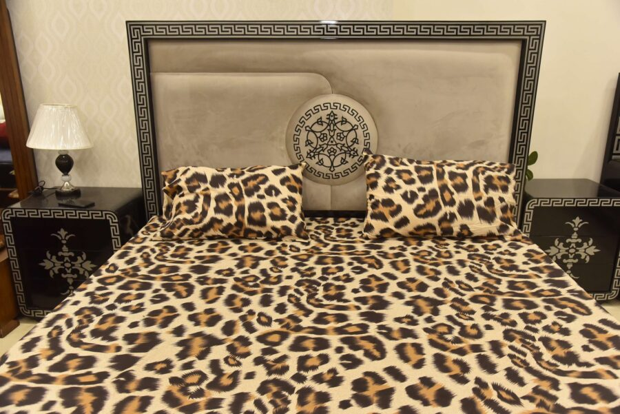 3 PCs Bed Sheet Leopard Print
