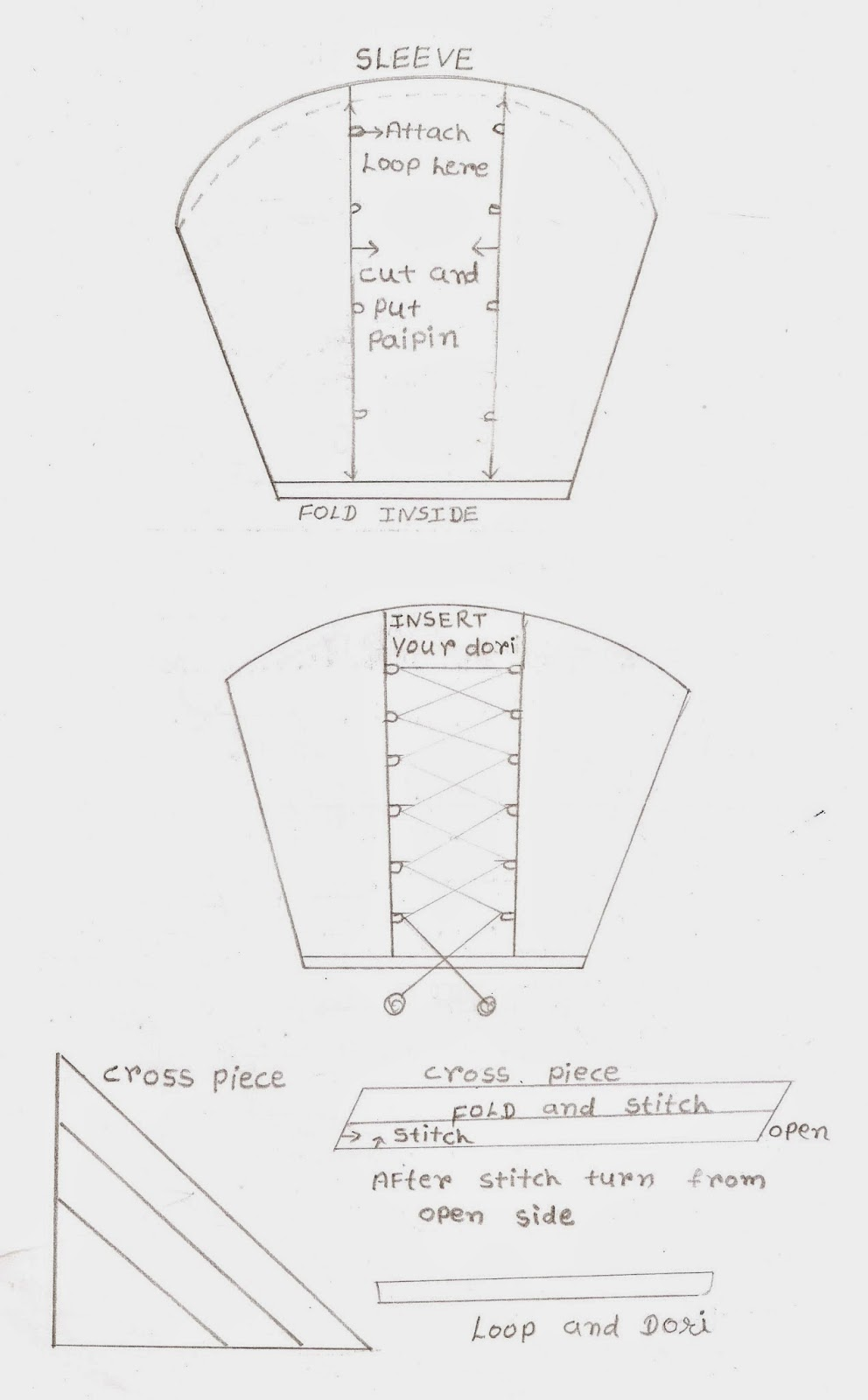 Cutting and stitching of Loops and dori sleeves